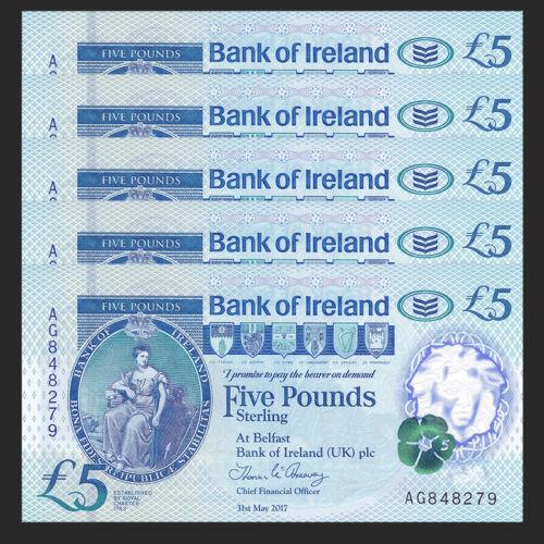 Bank of Ireland Lot 5 PCS,Northern Ireland 5 Pounds 2019 UNC Polymer 2017