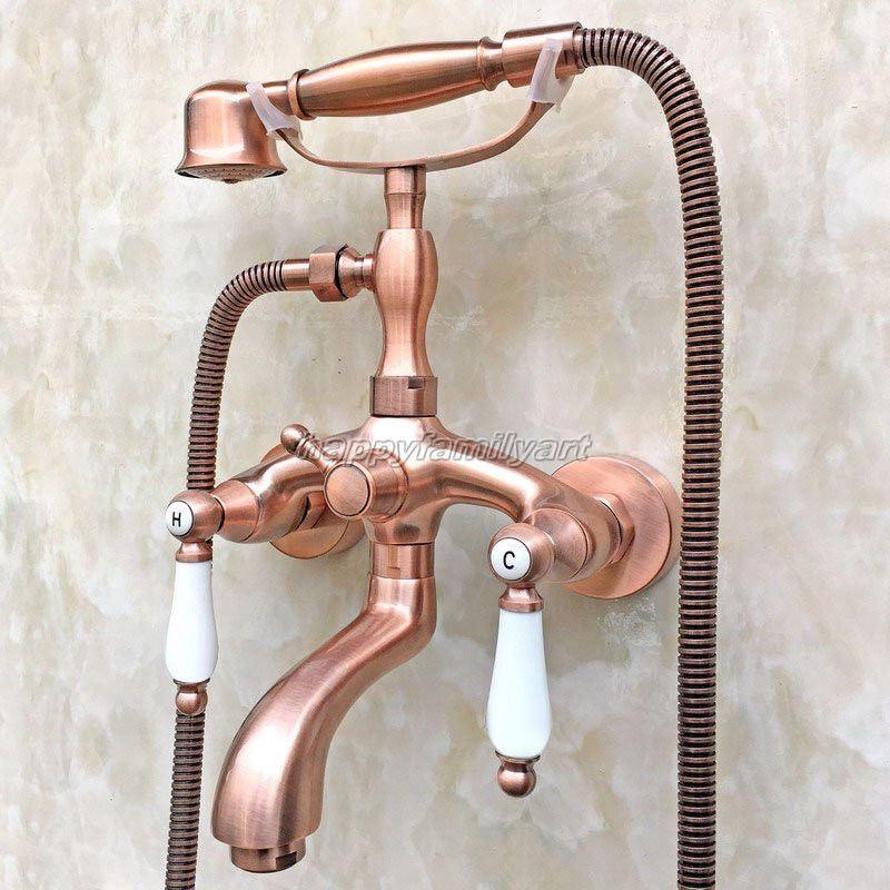 Rojo de cobre antiguo baño grifo del Tina clawfoot relleno con ducha de mano ytf805