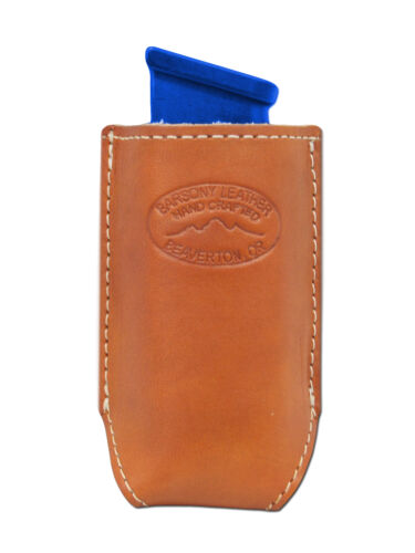NEW Barsony Tan Leather Single Magazine Pouch Colt Browning Full Size 9mm 40 45