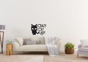 Crazy-Gato-Dama-animal-de-diseno-inspirado-en-Casa-Pared-Arte-Calcomania-Vinilo-Sticker