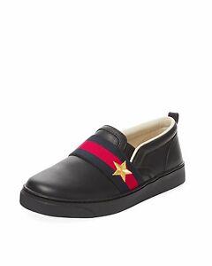 7f70e9e3d NIB NEW Gucci Ronnie kids black leather sneakers red green web 23 25 ...