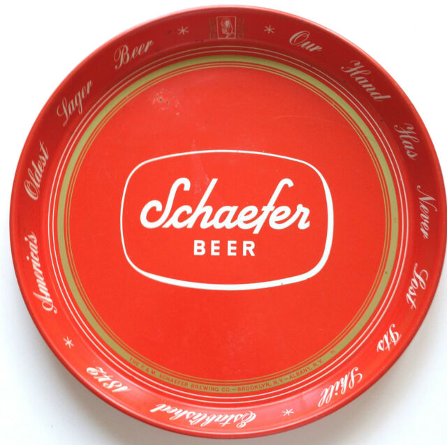 "VINTAGE 1960s SCHAEFER LAGER BEER 12"" TRAY~ ""OUR HAND HAS NEVER LOST IT'S SKILL"""