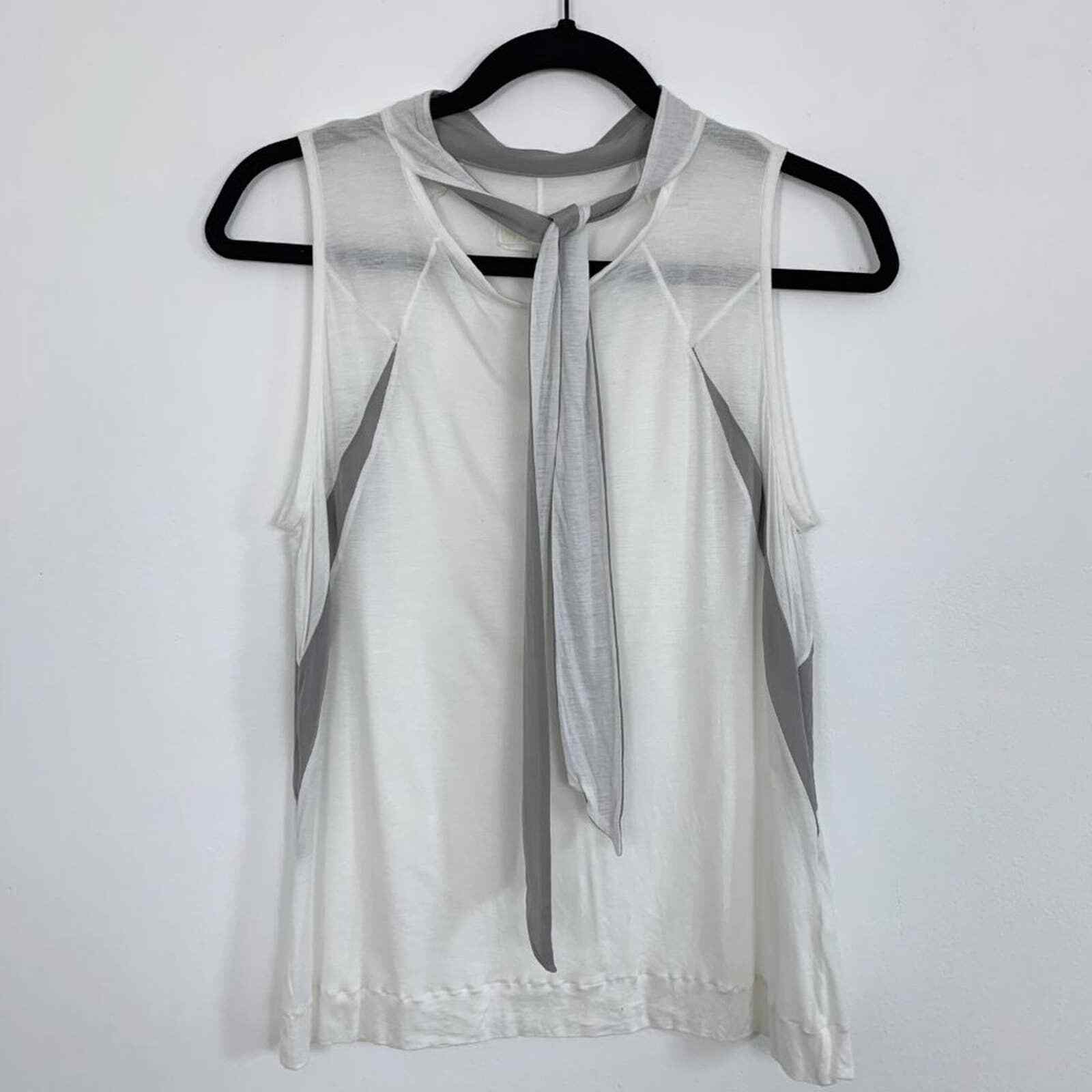 Rag & Bone Sheer White Tank Top with Neck Tie and… - image 3