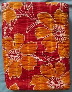 Vintage-hand-stitched-cotton-patchwork-red-yellow-kantha-quilt-gudari-blanket