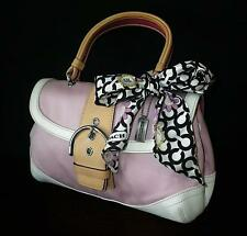 Coach Soho Pink Canvas Vachetta Leather Top Handle Bag w/ Matching Op Art Scarf