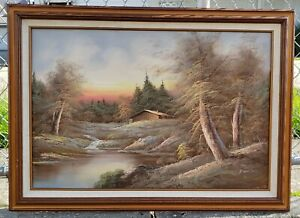 Vintage-1970-039-s-Forest-Landscape-Oil-Painting-on-Canvas-by-H-Wilson