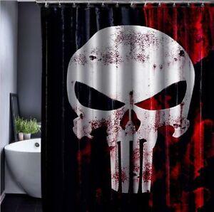 Image Is Loading Skull Grunge Gothic Punk Waterproof Bath Drape Hooks
