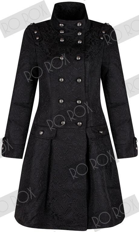 Femme victorienne militaire brocade trench coat emo punk gothique steampunk veste