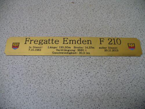 Fregatte Emden  F210 Namensschild für Modellständer mit Daten