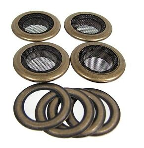 Cigar-Box-Guitar-Parts-4pc-1-034-Antique-Brass-Screened-Grommets-32-27-01