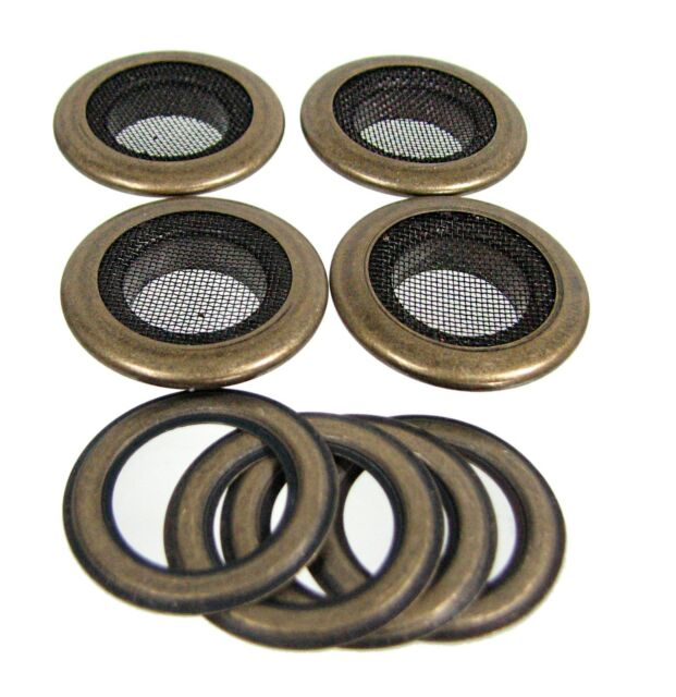 "Cigar Box Guitar Parts: 4pc. 1"" Antique Brass Screened Grommets 32-27-01"