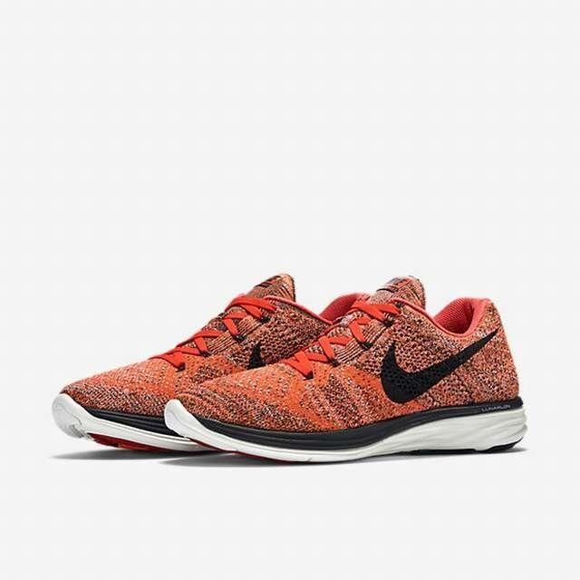 Men's Nike Flyknit Lunar 3 Bright Crimson Black orange White 698181-603 8.5 11.5