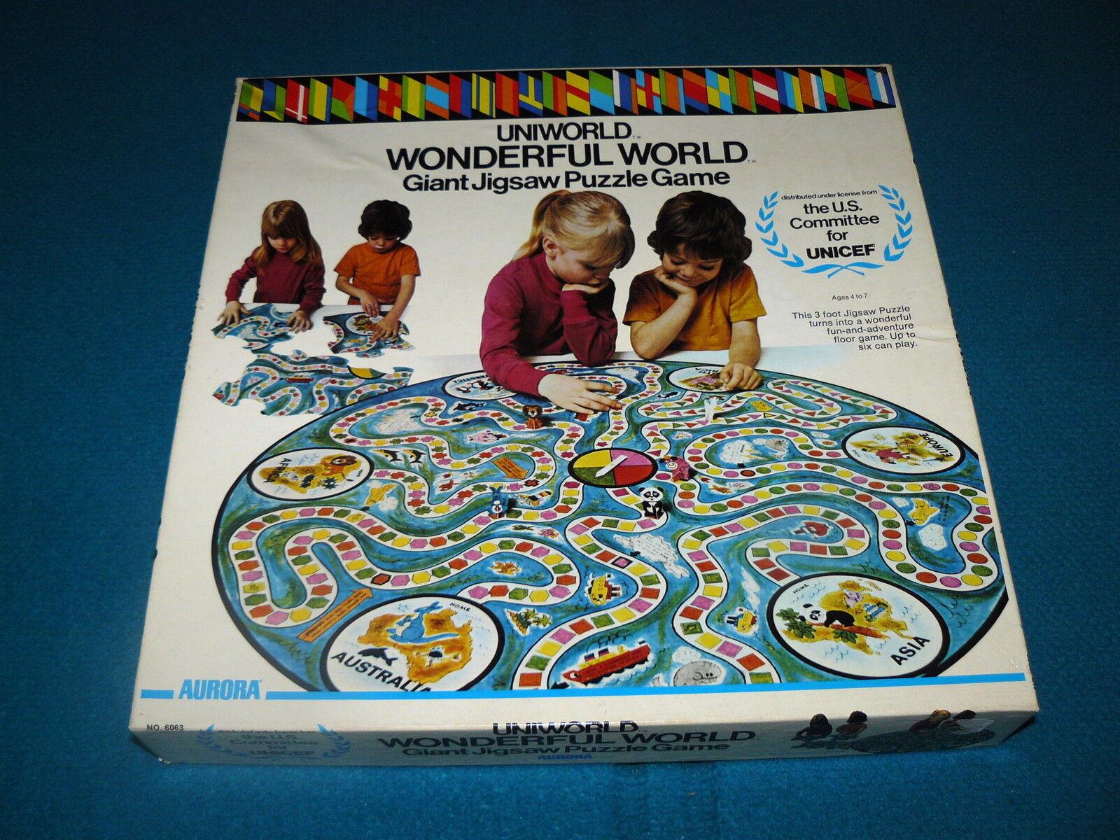 Unicef   UNIWORLD - WONDERFUL WORLD  Giant Jigsaw Puzzle  GAME @ Aurora 1973