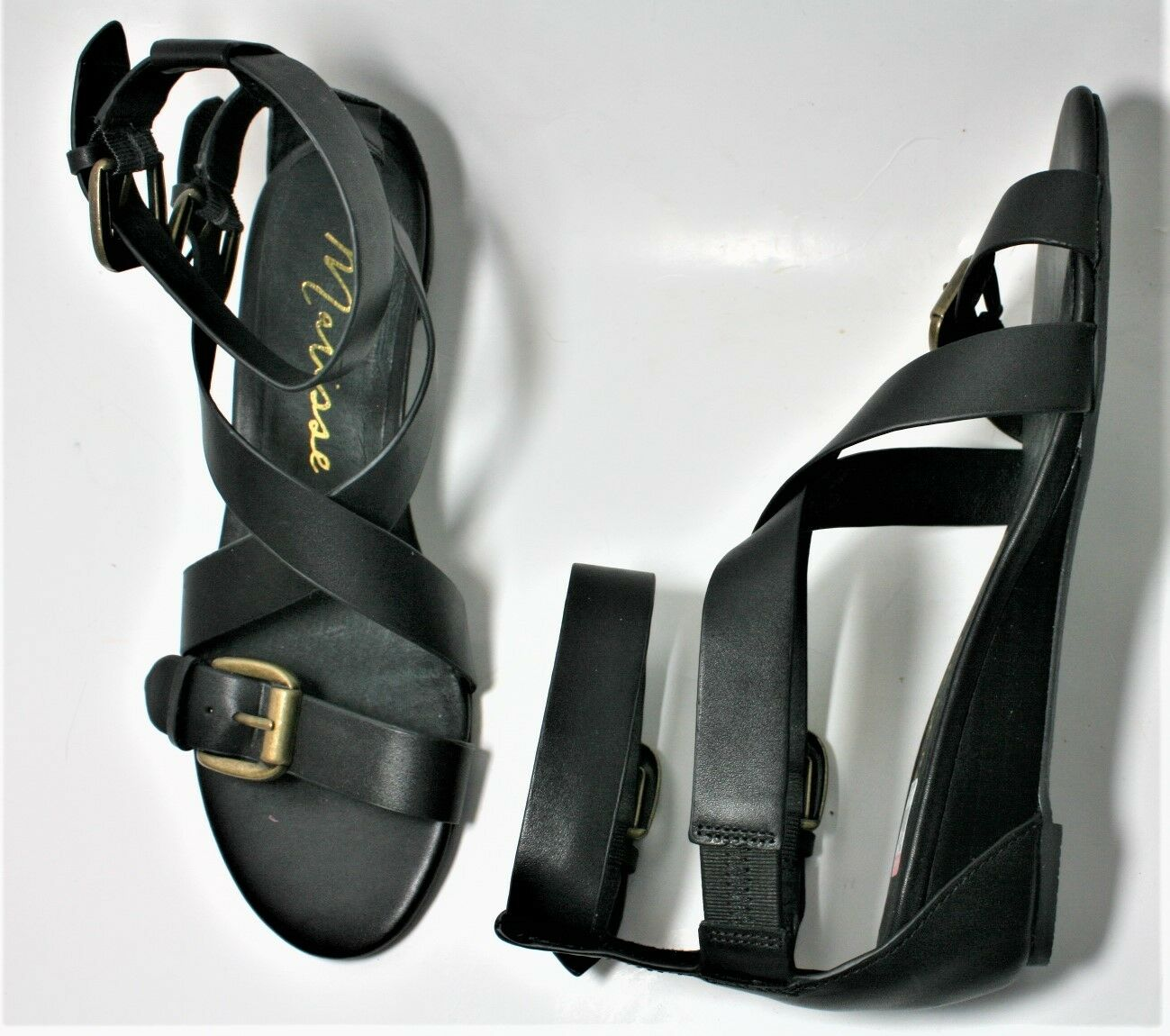 MATISSE scarpe GENUINE LEATHER LARISSA GLADIATOR SANDAL SANDAL SANDAL WEDGE nero 7.5 NEW cc6c91