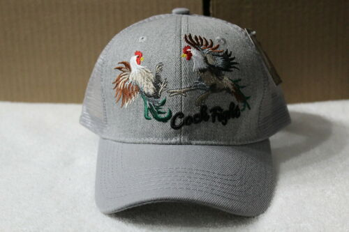 GRAY ROOSTER COCK FIGHT ROOSTERS SNAPBACK BASEBALL CAP HAT MESH BACK
