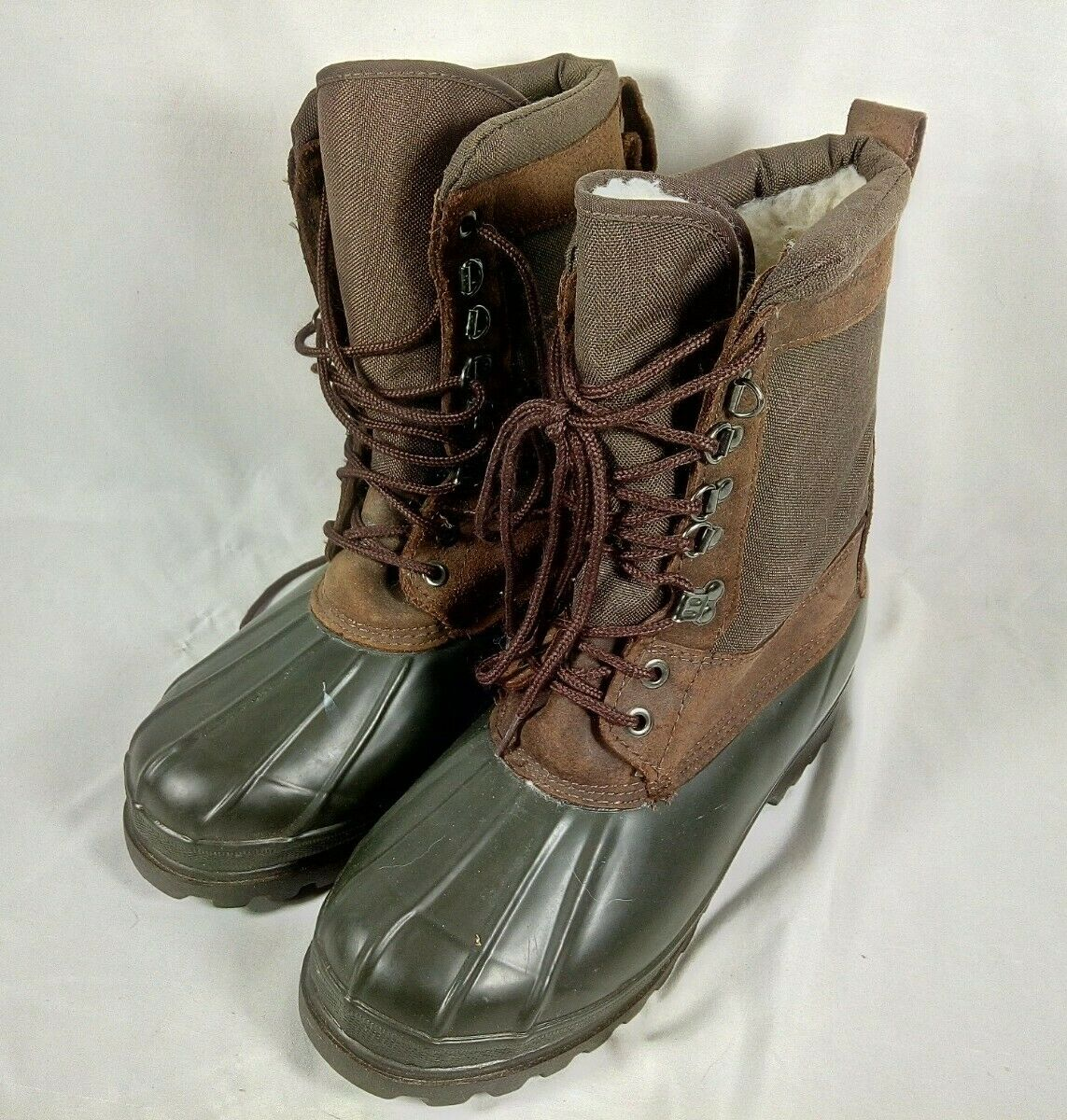Eddie Bauer Men's Duck Boots Size 10 Waterproof Brown Lace-Up
