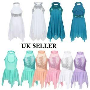 UK Girls Lyrical Ballet Dance Dress Kids Latin Sequins Gym Tutu Skirts Dancewear