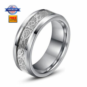 Stainless-Steel-Celtic-Dragon-8mm-Mens-Wedding-Band-Biker-Ring