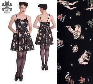 d3a578fd0df Hell Bunny Gwyneth Nautical Tiki Hula Sugar Skull Black Mini Dress ...
