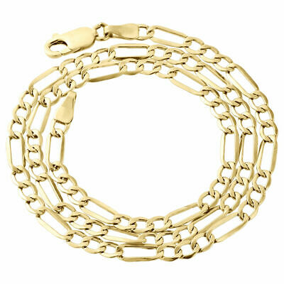 Available in 16 to 30 inches 10K Yellow Gold 3mm Solid Figaro Chain Necklace