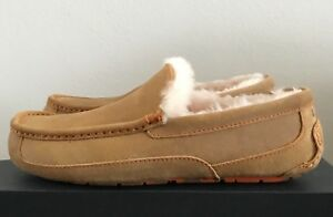 3e8ddac7160 UGG Men's Ascot Slippers Wool Hard Bottom Moccasin Shoes Chestnut ...