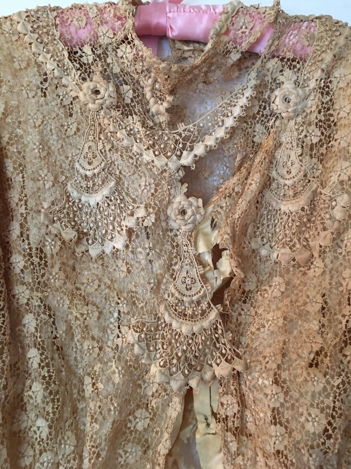 Antique Victorian Schiffli Chemical Lace Bodice L… - image 3
