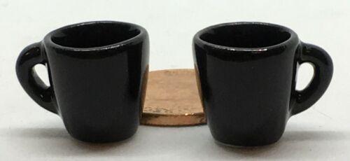 1:12 Maßstab 2 Schwarz Keramik Jeans Becher Tumdee Puppenhaus Miniatur Küche