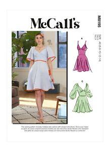 McCalls Schnittmuster M8195 - Sommerkleid mit V-Ausschnitt und Ärmelvarianten