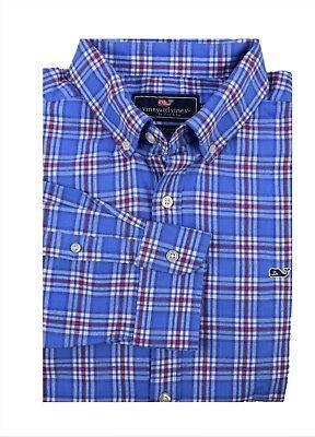 Vineyard Vines Men/'s Classic Fit Flannel Shirt Chandler Pond Plaid  Blue $98.50