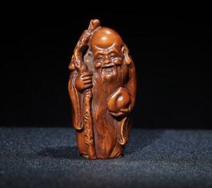 fengshui decor boxwood carved god of Longevity Fu Peach statue Netsuke figurines