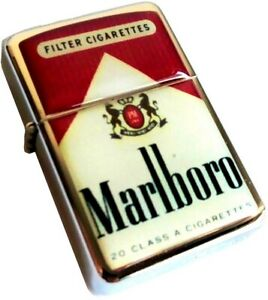 MARLBORO-Classic-White-Red-Packet-Smoking-Cigarette-Petrol-Lighter-Metal