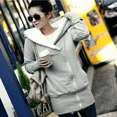 New Women Long Sleeve Hoodie Hooded Coat Jacket Outwear Sweatshirt Zipper Tops