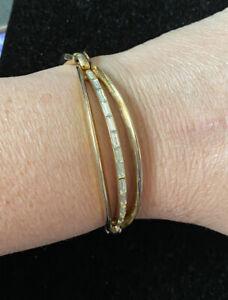 Vtg-Trifari-Gold-Tone-amp-Rhinestone-Bracelet-Pat-Pend