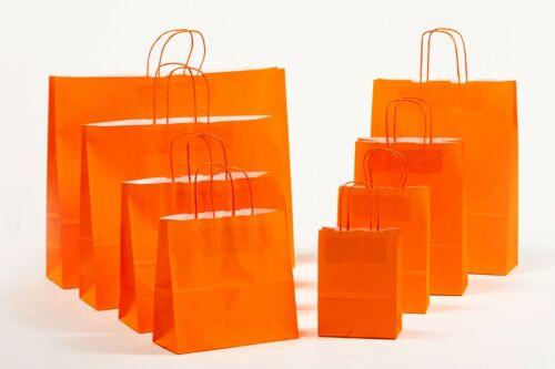 Papiertragetaschen orange Kordel Papiertüten verschiedene Größen Tüte