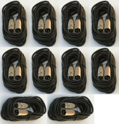 10 lot 15ft xlr male female 3pin MIC Shielded Cable microphone audio cord pack
