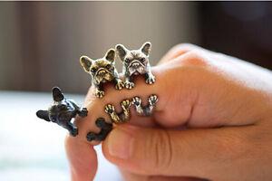 Rings-Jewelry-Fashion-Vintage-Antique-Bronze-Bulldog-Statement-Wrap-Animal-Ring