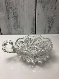 Vintage-American-Brilliant-Pattern-Cut-Lead-Crystal-Handled-Nappy-Sawtooth-Bowl