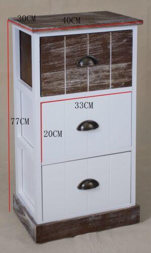 Kommode 111cm hoch Schrank Schubladen braun Landhaus Shabby Chic Vintage Weiß