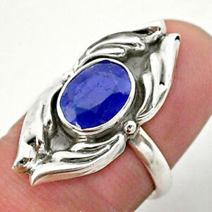 3.26cts Solitaire Natural Blue Sapphire 925 Sterling Silver Ring Size 6 T40679