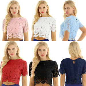 Summer-Womens-Casual-Tops-Blouse-Short-Sleeve-Floral-Lace-Sheer-Crooped-Tank-Top