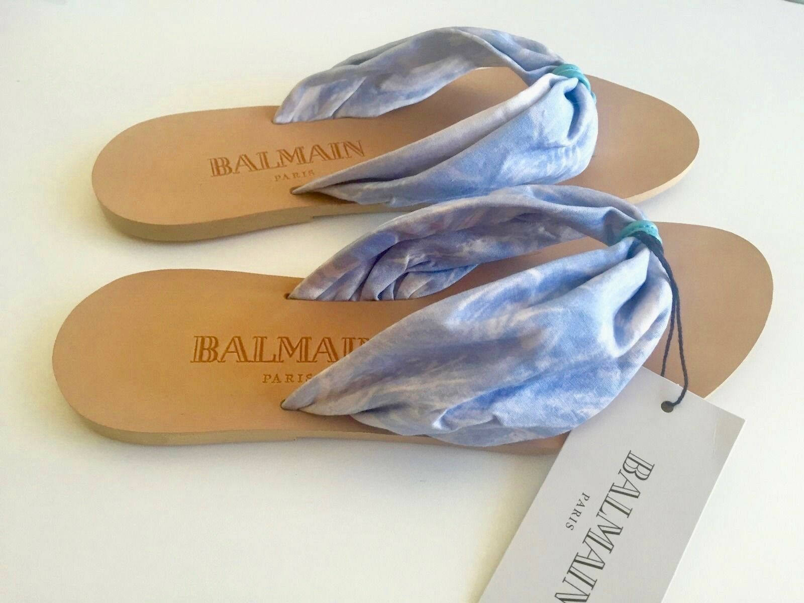 NEW BALMAIN BALMAIN BALMAIN Size 8 Leather & Fabric bluee Sandals Flip Flops Made in  b9b090