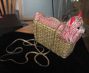 Uk Pink hecho lindo nupcial embrague 3d Silver cristalino perro bolsa Gold a mano lujo Ab de wTYxZrBqw