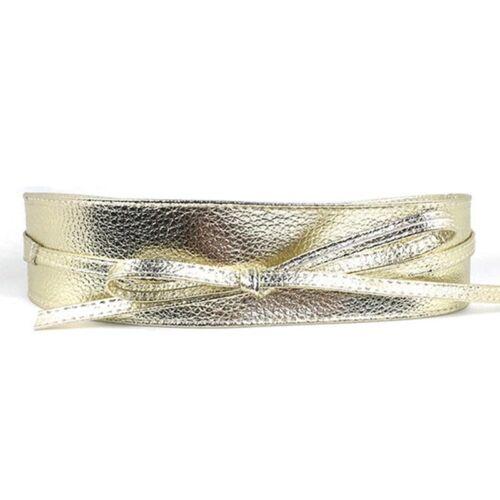Women Faux Leather Wide Self Tie Wrap Around Obi Waist Band Cinch Boho Belt New
