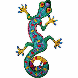 Green-Gecko-Lizard-Embroidered-Iron-Sew-On-Patch-Clothes-Top-Dress-Skirt-Badge