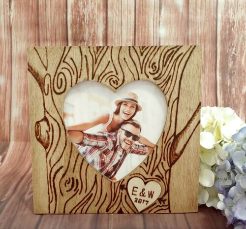 Personalized couple Picture Frame Initials on Tree Love Engagement Gift