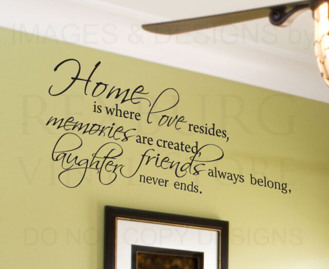 Wall Decal Quote Sticker Vinyl Lettering Home is Where Love Resides Family F65
