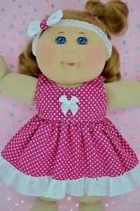 Play-n-Wear-Doll-Clothes-For-14-034-Cabbage-Patch-HOT-PINK-POLKA-DOT-DRESS-HEADBAND