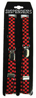 Black Red Ska Checkered Braces Skinny Suspenders 70s 80s Gothic Goth Punk Glam