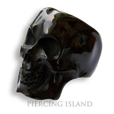 17-22mm Black Skull Ring Horn Punk Rock Biker AR059
