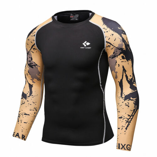 Mens Compression Tops Long Sleeve Tights Under Base Layer Gym T-shirts Quick Dry